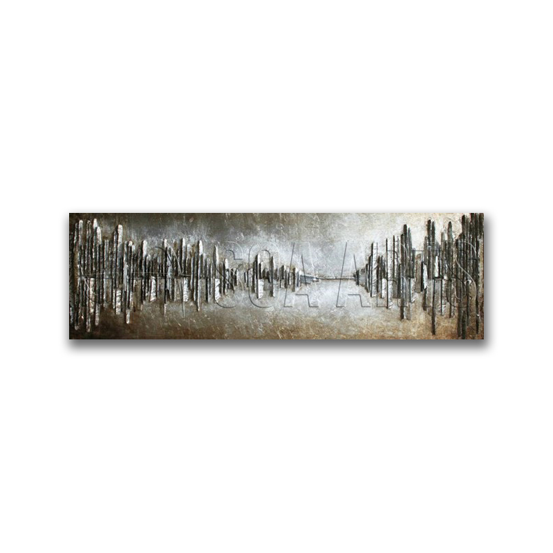 Abstract 3D Cityscape Cool Iron Painting Metal Wall Art