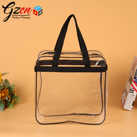 custom transparent waterproof handle with zipper packing baby quilt pvc bag