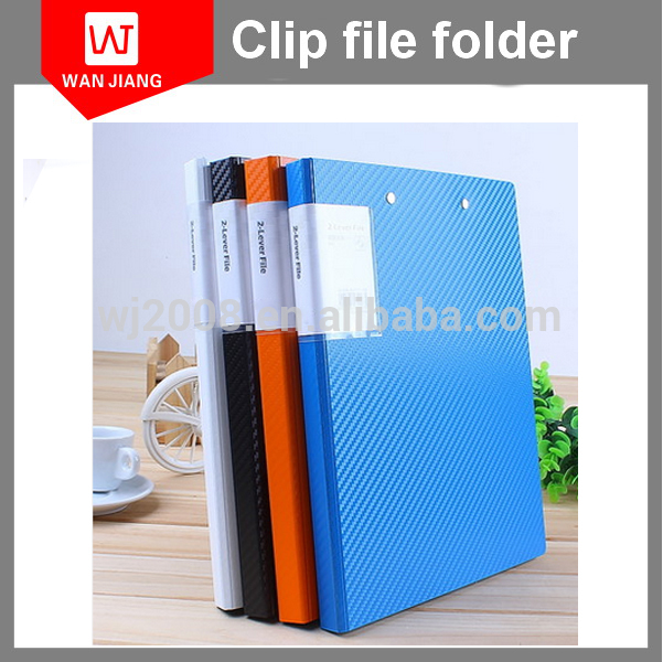 high quality plastic clipboard clip file folder with 2 matel clips