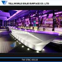 commercial modern fancy hotel furniture metal glass bar counter