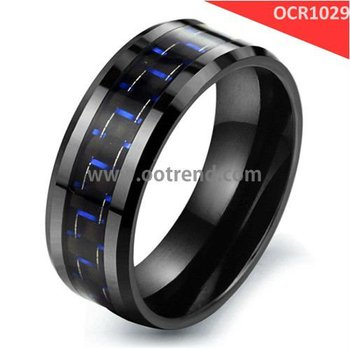 Men Black Zirconium Oxide Ceramic Rings inlay blue color carbon fiber