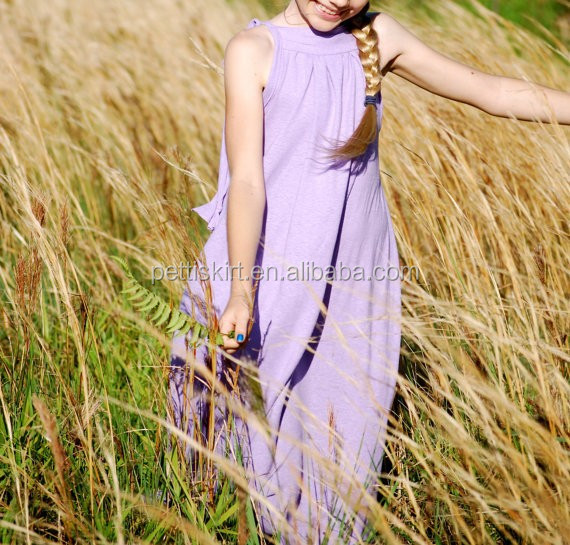 Kids OEM Service Lovely Design Baby Girls solid color Maxi Dress Cotton Boutique Long Dress