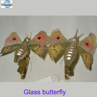 Christmas holiday glass butterfly with painting from China supplier