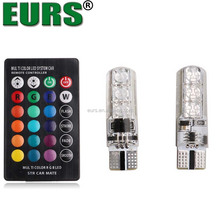 Waterproof auto spare parts T10 5050 6SMD12V 1.32W 6000K car colorful RGB led silicone license plate bulb