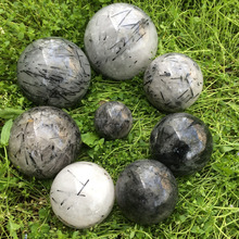 Wholesale black tourmaline crystal ball 120mm decoration crystal sphere ball