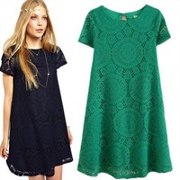 Size M-XXXXL New Style Dress Loose short Sleeve Hollow Curved Line Dress with Lace