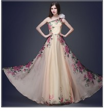 New Summer Flower embroidery design Long Bridesmaid Formal High-neck evening party dress
