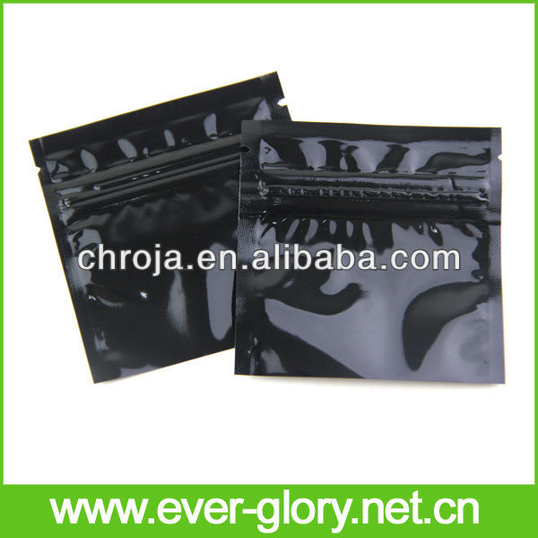 Plain Printing Resealable Three Sides Sealed Black Mylar Bags