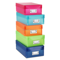 Plastic Paperwork Underware Trinket Organizer Boxes Set of 5 Assorted Colors