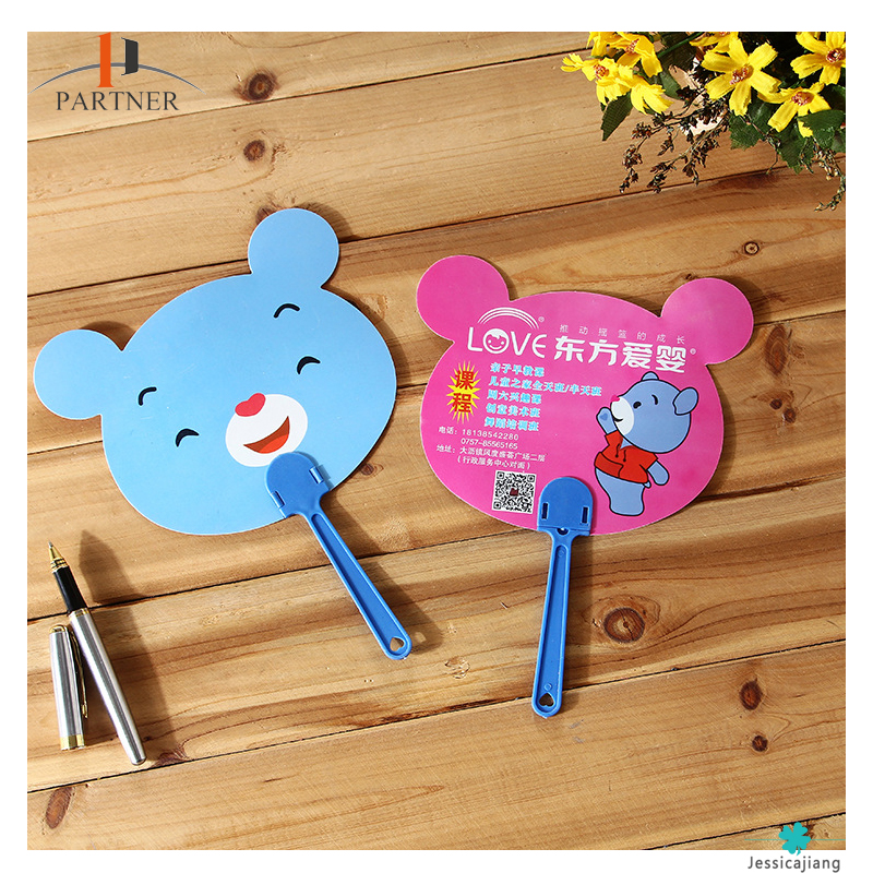 Best selling plastic PP cartoon advertising hand fan with custom logo for promotion event from china manufacturer
