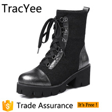 Tracyee Winter Snow Genuine Leather Motorcycle Thigh High Boots For Women