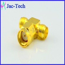 Brass material factory price RP-SMA male to double RP-SMA female T adapter connector