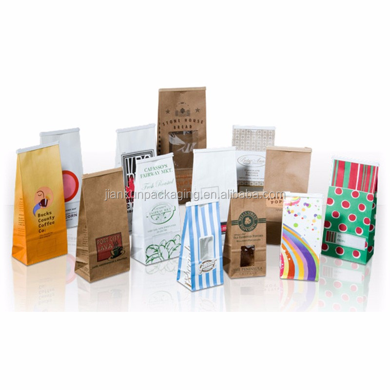 Biodegradable flat bottom kraft paper coffee bags