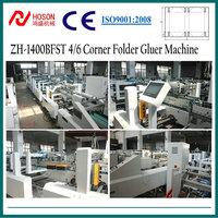 ZH-1400BFST Automatic 4 6 Corner Cardboard/Corrugated Pizza Box Folder Gluer Machine