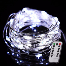 Battery Operated LED String Lights 5M50L 100leds on a Flexible Silver Wire 8 Modes with Wireless Remote Control for Christmas