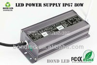 BD-12080F IP67 CE 12V 6.67A AC DC Waterproof led power supply with 3 years warranty