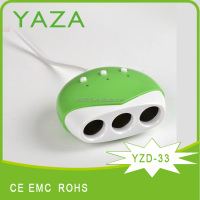 YZD-33 3 port car battery charger for mobile phone without solar function