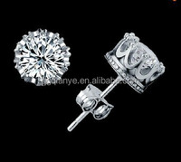 Top Quality Wedding Jewelry Plating Multi Prongs 8mm CZ Diamond stud earrings for girls