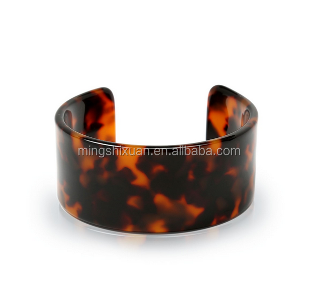 NEW ARRIVAL-MSX JEWELRY ACRYLIC THICK TORTOISE WIDE CUFF BROWN BRACELET CUFF