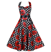 Women Summer Floral Print Retro Vintage 50s Polka Dot Casual Party Rockabilly Dress plus size Vestidos Femininos