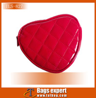 quilted heart-shaped shiny leather cosmetic case,beauty case