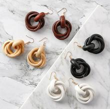 South Korean wooden earring wood circle winding Pendant Earrings fashion earrings women