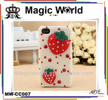 Strawberries Shaped Bling Diamond Crystal Hard Case Cover For iPhone 4 4S