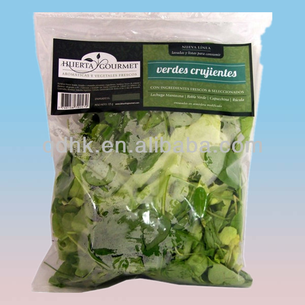 Wholesale paper printed clear plastic fresh vegetable bag