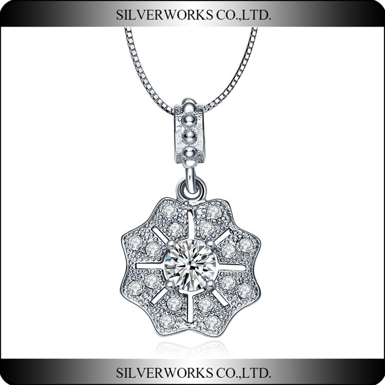 Sun flower Filigree Antiqued Silver Tone Magnifier Pendant for Necklace