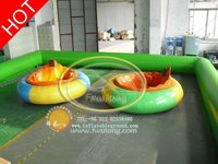 Amusement outdoor riders for electric inflatable bumper car with track