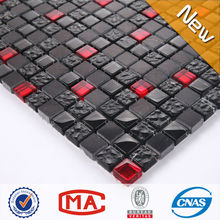 HF JTC-1322 wall tile 15x15 china wholesale decorating black glass mix red glass stone mosaic tile china home decor wholesale