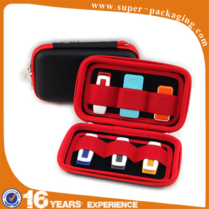 Customized color hard protectiv carrying tool PU leather EVA case for cable USB Phone