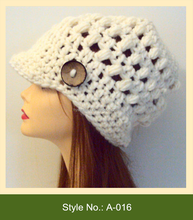 A-016 hot sale spring and autumn knitted baseball cap hat pattern with brim