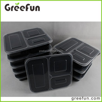 Hot Resuable 3 Compartment Food Container With Lid , Hot Sale Stackable Food Container Bento Box Microwave Dishwasher Restaurant
