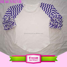 Women cotton icing ruffle chevron sleeve blank waist curved t-shirt baby boy raglan tee baseball girl t-shirt for size 0-10 T