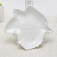 kids fancy new jade color food safe unique kitchen use sets maple leaf shaped crafted cute mini glass plate