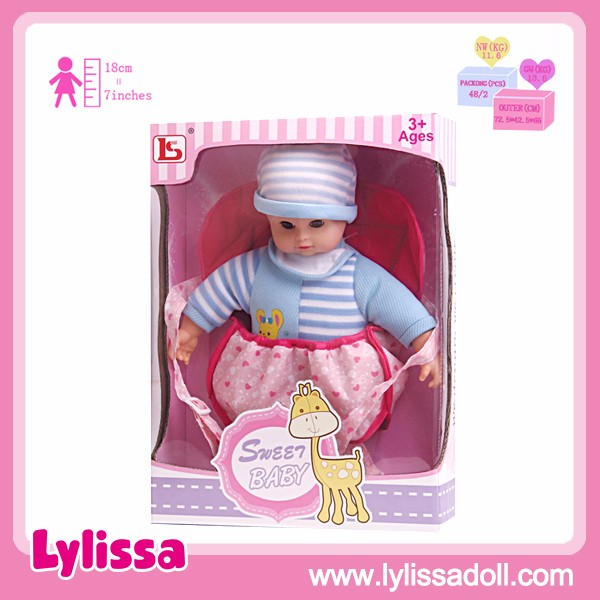 Top Selling Beautiful Soft Cotton 14 Inch Cute Baby Doll with Rucksack