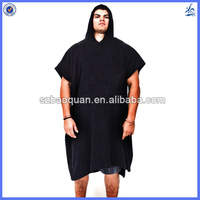 Large size adult hooded surf poncho beach towel for man