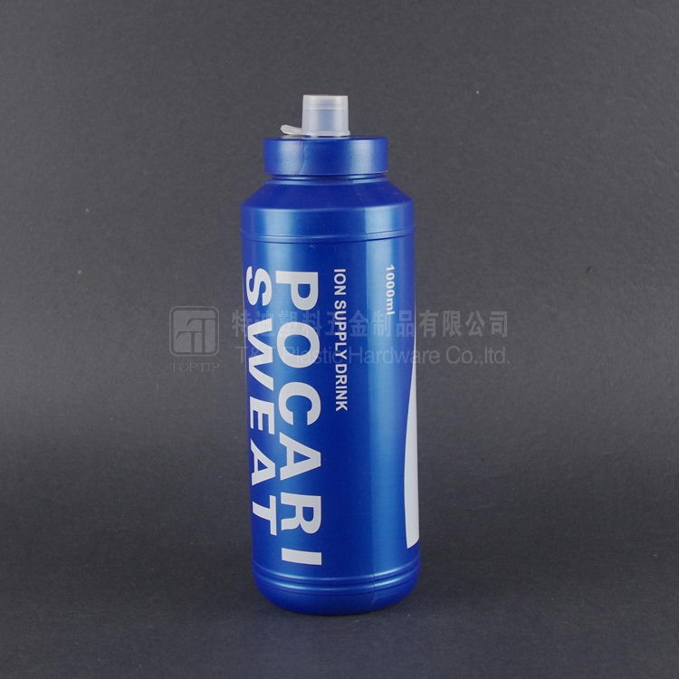 1000ml large capacity Blue PE plastic water bottle with private label printing