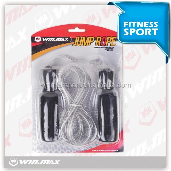 wholesale skipping rope with plastic covered steel wire and eva foam handle