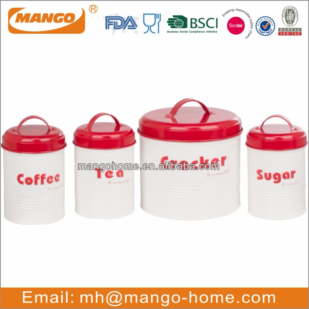 White Round Airtight unique tea coffee sugar Canister Set