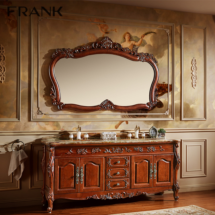 Exclusive 72 inch bottom double washbasin antique bathroom vanity before with mirror