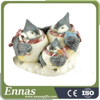 Polyresin christmas blue bird family figurines gifts