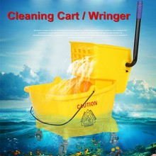 Commercial Small Wet Mop Bucket & Wringer Combo With Wheels Yellow Janitorial