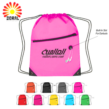 210D Colourful Cheap Custom Cute Polyester Drawstring Bag With Zipper