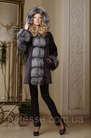Mouton and Silver Fox Bat-shaped Natural Real Fur Coat Fur-coat Furcoat with silver fox trim