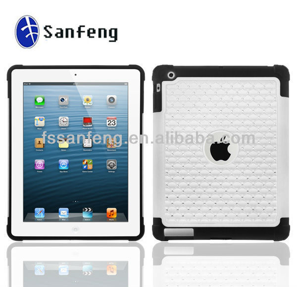 2014 new popular diamond case for ipad air smart cover/hybrid rugged case for ipad air plastic case