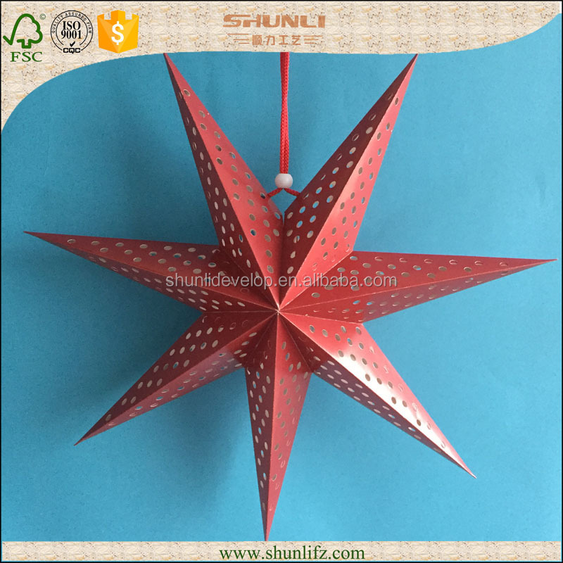 red 7 points D60cm origami paper star for Christmas decoration