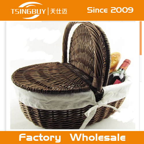 cheap round willow wicker baskets with handle wholesale/picnic basket hamper