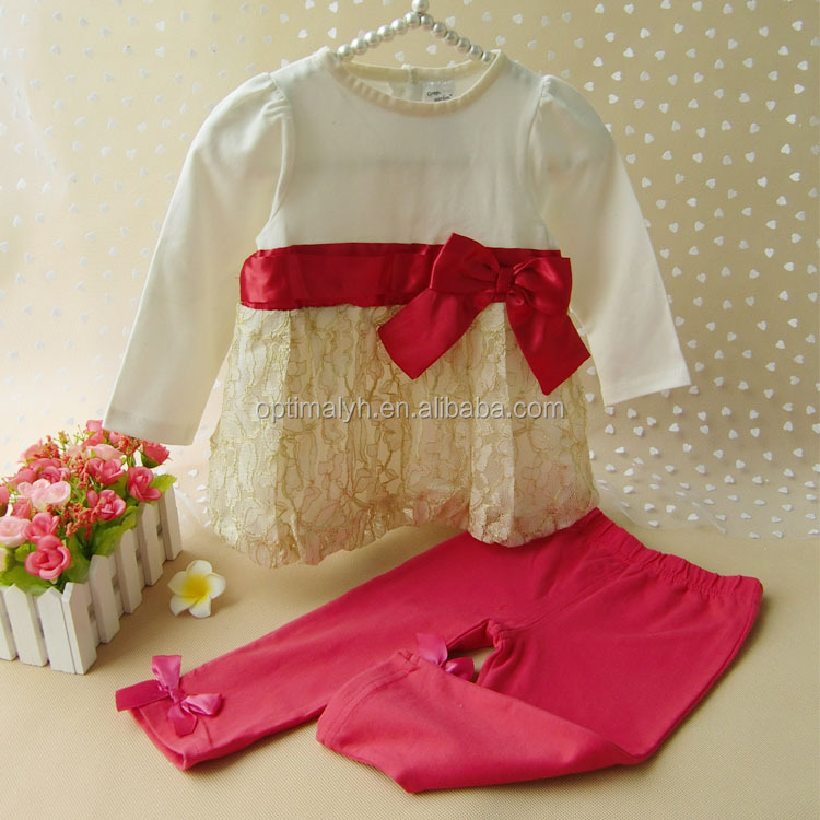 Long sleeve fairy lace ruffle with pant set little girl princess kids outfit